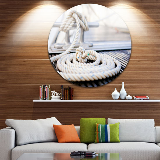 Designart White Nautical Mooring Rope Modern Landscape Circle Metal Wall Art