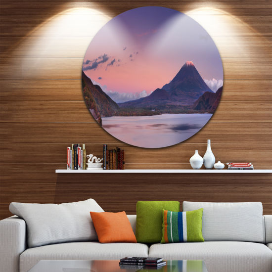 Designart Sunset at Mount Fuji and Lake Motosu Modern Landscape Circle Metal Wall Art