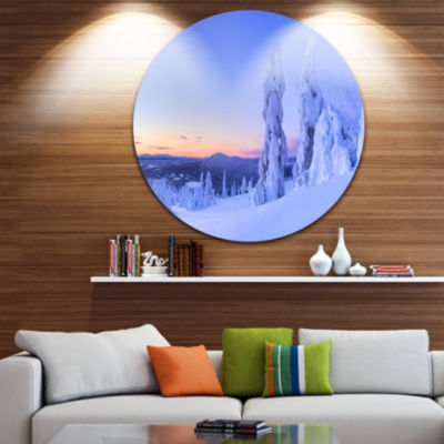 Designart Sunset over Frozen Trees Modern Landscape Circle Metal Wall Art