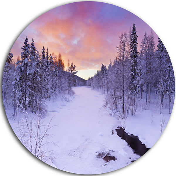 Designart Winter River in Finnish Lapland Modern Landscape Circle Metal Wall Art
