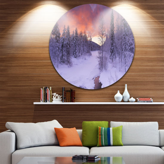 Designart Finnish Lapland Trees in Winter Landscape Circle Metal Wall Art