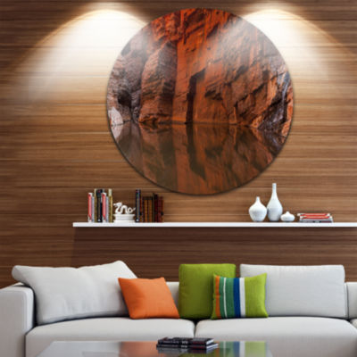 Design Art Rock Wall Reflections in Gorge Landscape Circle Metal Wall Art