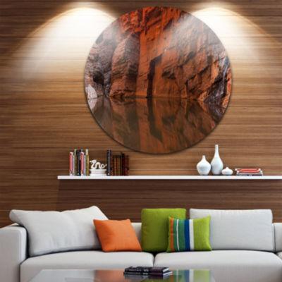 Designart Rock Wall Reflections in Gorge LandscapeCircle Metal Wall Art