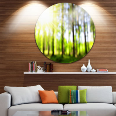 Designart Green Bokeh in the Forest Landscape Circle Metal Wall Art