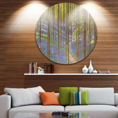 Designart Blooming Bluebell Forest Panorama Landscape Circle Metal Wall Art