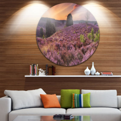 Designart Blooming Heather at Dawn Panorama Landscape Circle Metal Wall Art