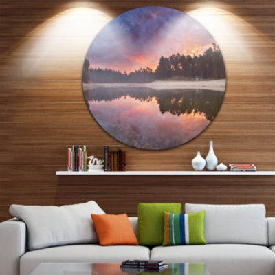 Designart Quiet Lake Mirroring the Sky Landscape Circle Metal Wall Art