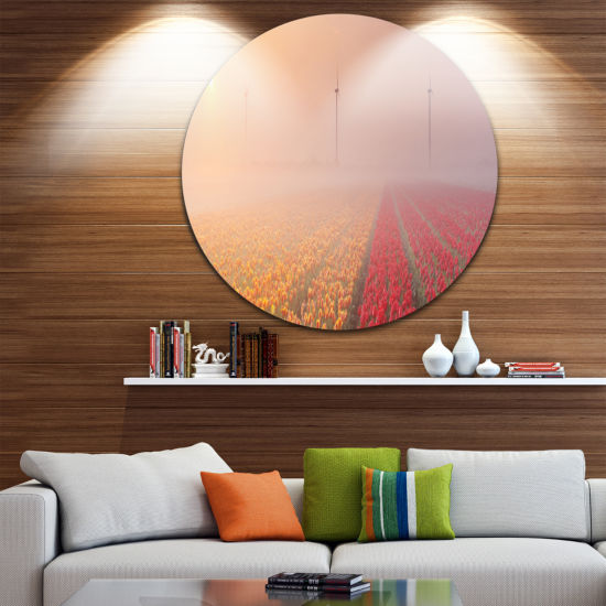 Designart Sun over Blooming Lake Panorama Landscape Circle Metal Wall Art