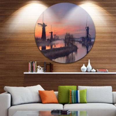 Designart Windmills at Sunrise Panorama LandscapeCircle Metal Wall Art