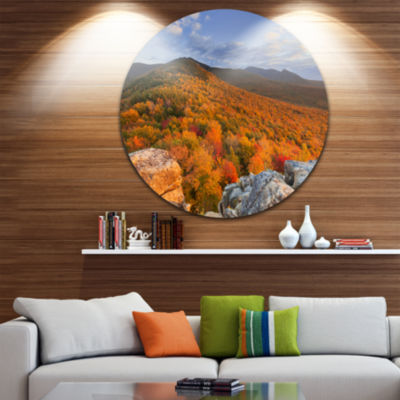 Designart Endless Forests in the Fall Foliage Landscape Circle Metal Wall Art