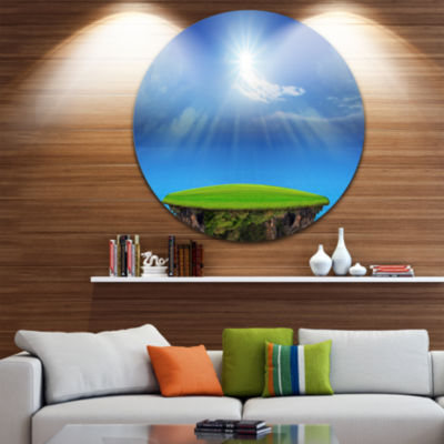 Designart Blue Sky and Sun Shining Landscape Circle Metal Wall Art