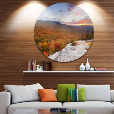 Designart Endless Forests in Fall Foliage Landscape Circle Metal Wall Art