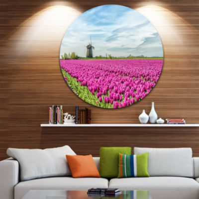 Designart Traditional Holland Countryside Landscape Circle Metal Wall Art