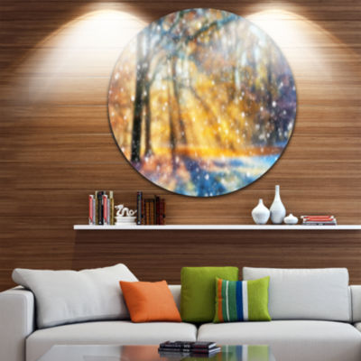 Designart Blur Winter with Snow Flakes Landscape Circle Metal Wall Art