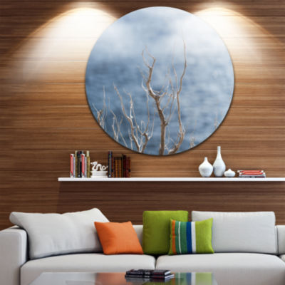 Designart Leafless Winter Branches Landscape Circle Metal Wall Art