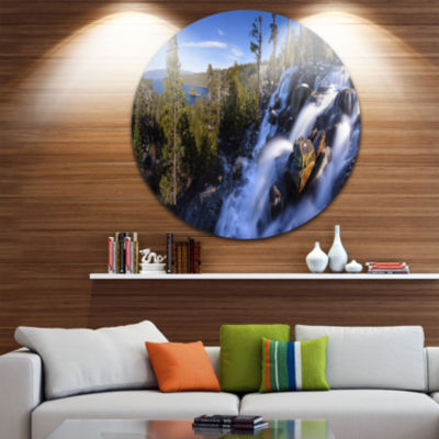 Designart Eagle Falls Emerald Bay Lake Tahoe Landscape Circle Metal Wall Art