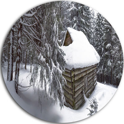 Designart House in Magic Winter Forest Landscape Circle Metal Wall Art