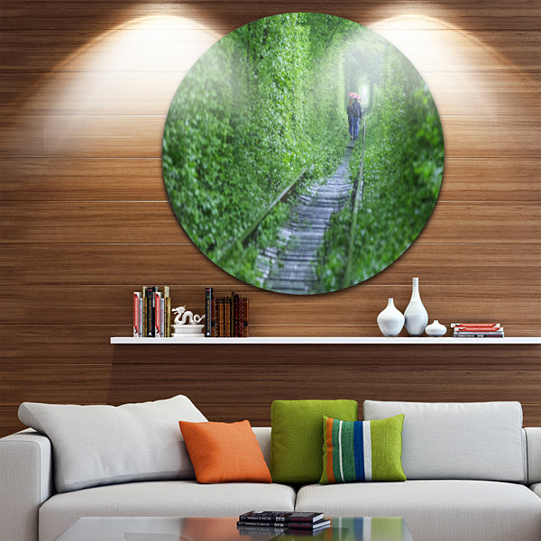 Designart Couple Walking into Tunnel Landscape Circle Metal Wall Art
