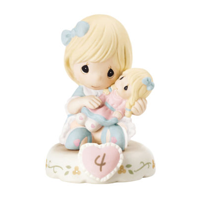 "Precious Moments  ""Growing In Grace  Age 4""  Bisque Porcelain Figurine  Blonde Girl  #152010"