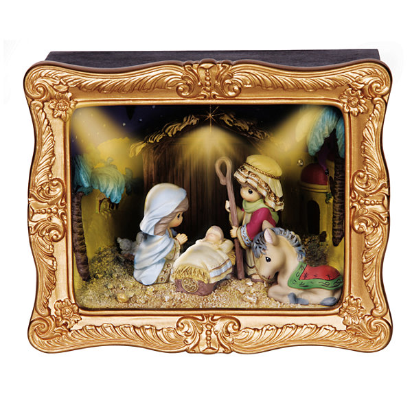 "Precious Moments  ""Deluxe Nativity Shadow Box""Resin Music Box  #141110"