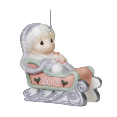 """Precious Moments  Christmas 2015  """"Baby's First Christmas - Boy""""  Bisque Porcelain Ornament  #151006"""