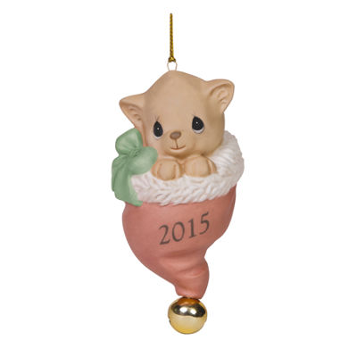 "Precious Moments  Christmas 2015  ""Pur-fect Love""  Bisque Porcelain Ornament  #151009"