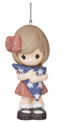 "Precious Moments  ""Forever My Hero""  Girl  Bisque Porcelain Ornament  #151034"