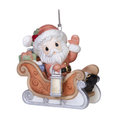 "Precious Moments  Annual Santa Series  7th In Series  ""Santa's On His Way""  Bisque Porcelain Ornament  #151021"