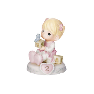 "Precious Moments  ""Growing In Grace  Age 2""  Bisque Porcelain Figurine  Blonde Girl  #142011"