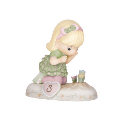 "Precious Moments  ""Growing In Grace  Age 3""  Bisque Porcelain Figurine  Blonde Girl  #142012"