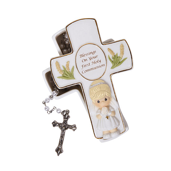 """Precious Moments """"Blessings On Your First Holy Communion"""" Bisque Porcelain Box With Rosary Girl  #123406"""