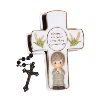 """Precious Moments  """"Blessings On Your First HolyCommunion""""  Bisque Porcelain Covered Box With Rosary  Boy  #123407"""