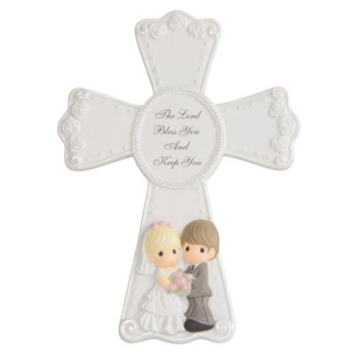 """Precious Moments  """"The Lord Bless You And Keep You""""  Bisque Porcelain Cross With Easel  #143406"""