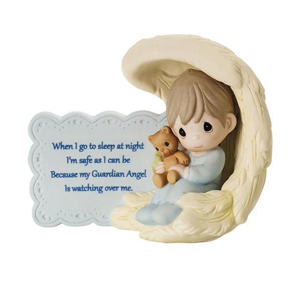 "Precious Moments  ""My Guardian Angel""  BisquePorcelain Figurine  Boy  #152009"