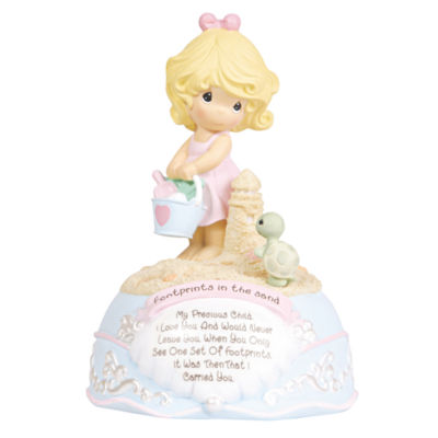 """Precious Moments  """"Footprints In The Sand""""  Resin Music Box  Girl  #103112"""