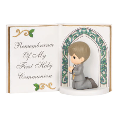 "Precious Moments  ""Remembrance Of My First HolyCommunion""  Resin Figurine  Boy  #143405"