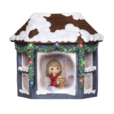 "Precious Moments  ""Girl And Puppy Watching Snowfall""  Resin Music Box  Lighted  #141102"
