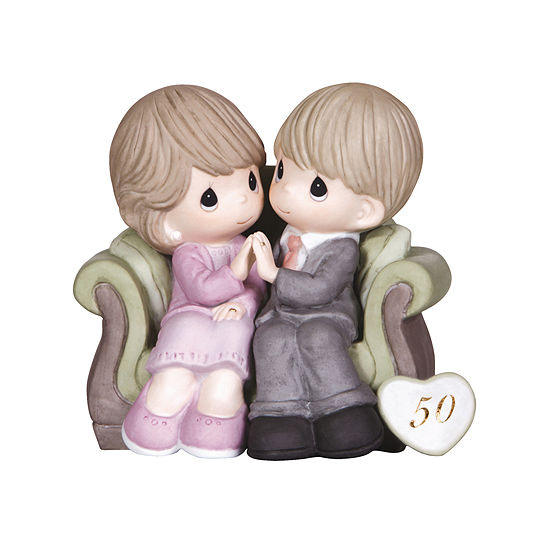 """Precious Moments  """"Through The Years - 50th Anniversary""""  Bisque Porcelain Figurine  #123021"""