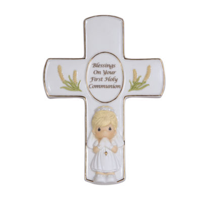 """Precious Moments  """"Blessings On Your First HolyCommunion""""  Bisque Porcelain Cross With Stand  Girl  #123408"""