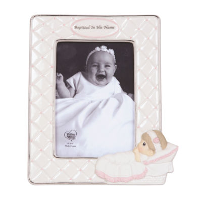 "Precious Moments  ""Baptized In His Name""  Bisque Porcelain Photo Frame  Girl  #143400"