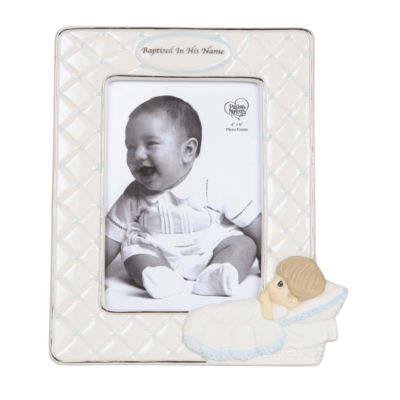 "Precious Moments  ""Baptized In His Name""  Bisque Porcelain Photo Frame  Boy  #143401"