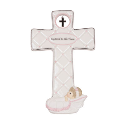 "Precious Moments  ""Baptized In His Name""  Bisque Porcelain Cross  Girl  #143402"