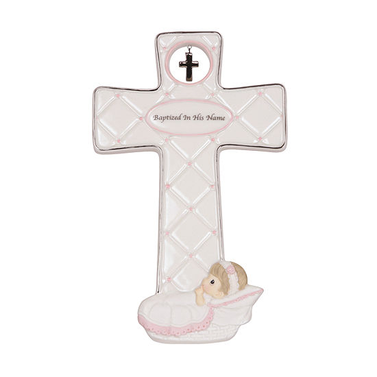 Precious Moments Baptized In His Name Bisque Porcelain Cross Girl 143402
