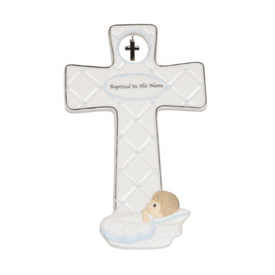 "Precious Moments ""Baptized In His Name"" Boy Bisque Porcelain Cross #143403"