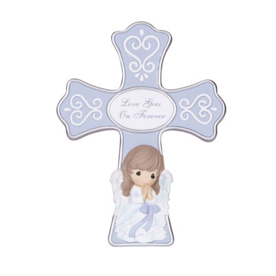 """Precious Moments  """"Love Goes On Forever""""  Resin Cross With Stand  #141401"""