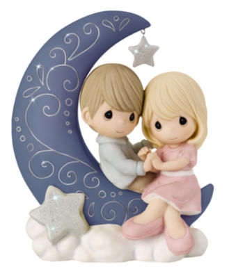 """Precious Moments  """"I Love You To The Moon And Back""""  Bisque Porcelain Figurine  #152016"""