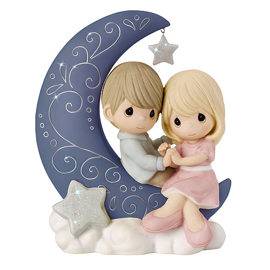 "Precious Moments  ""I Love You To The Moon And Back""  Bisque Porcelain Figurine  #152016"