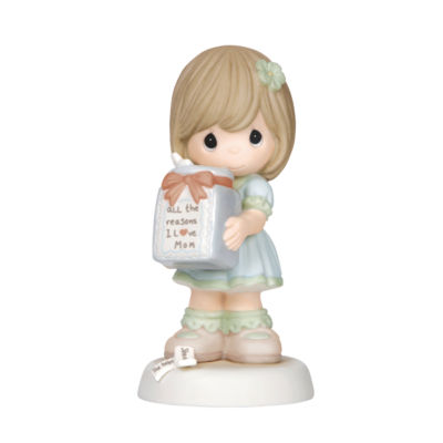 """Precious Moments  """"All The Reasons I Love Mom""""Girl  Bisque Porcelain Figurine  #144002"""