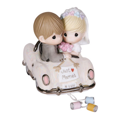 "Precious Moments  ""Just Married""  Bisque Porcelain Figurine  #103018"