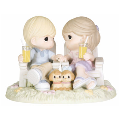 "Precious Moments  ""Always Be By My Side""  Bisque Porcelain Figurine  #104018"